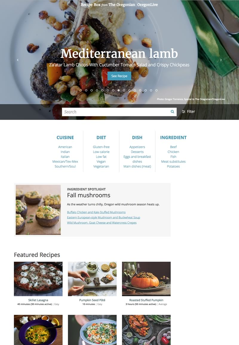 Oregonian Recipe Box Homepage
